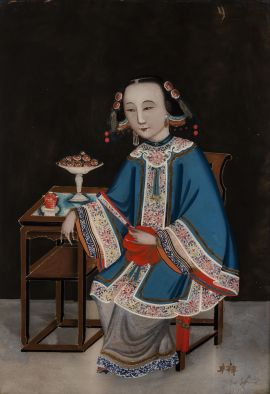 Canton (Guangzhou) school, China untitled (seated female figure in ceremonial dress), China, circa 1820 reverse painted pigment on English glass; original Chinese carved gilt wood frame | image:  The Johnston Collection (A0968-1989, Foundation Collection) © Robert Colvin & The Johnston Collection, Australia