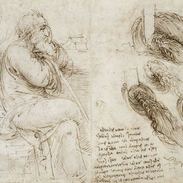 Leonardo-da-Vinci-A-seated-old-man-Architectural-studies