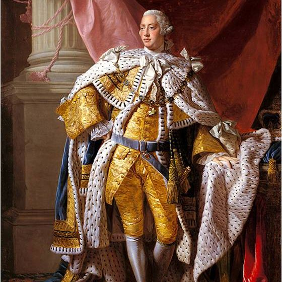 King George III - portrait in 1761 (age 23) painted on the occasion of his Coronation by the Scottish artist Sir Allan Ramsay.