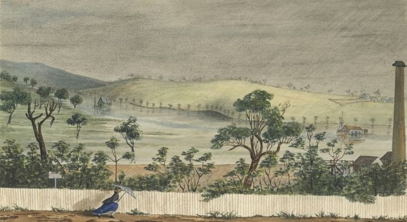 Yarra River in flood 1862