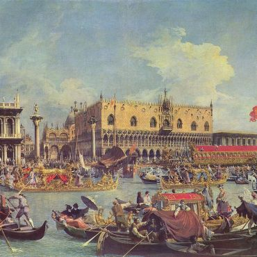 Canaletto The Bucintoro at the Molo is for the Ca Rezzonico