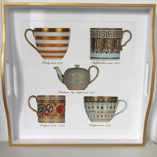 Tray Small Square Antique Cups and Teapot